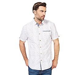 Mantaray - Blue tribal textured print short-sleeved shirt