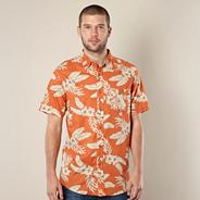 Orange tropical floral shirt