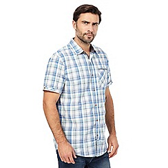 Mantaray - Blue short-sleeved check shirt