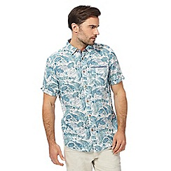 Mantaray - Big and tall dark turquoise textured floral print shirt