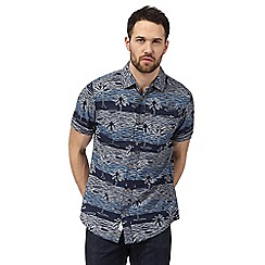 Mantaray - Big and tall navy beach print shirt