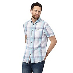 Mantaray - Big and tall light blue checked shirt