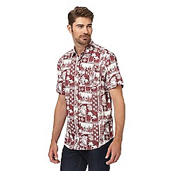 Mantaray - Big and tall red palm tree print shirt