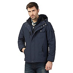 Mantaray - Big and tall navy hooded tech jacket