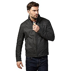 Mantaray - Dark grey waxed biker jacket