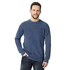 Mantaray - Big and tall navy textured crew neck jumper