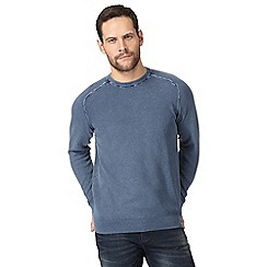 Mantaray - Big and tall light blue textured crew neck jumper