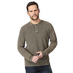 Mantaray - Big and tall khaki textured grandad top