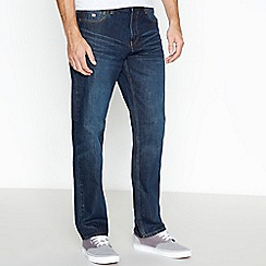 Mantaray - Big and tall dark blue mid wash straight leg jeans