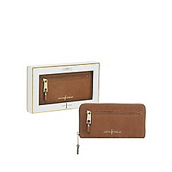 J by Jasper Conran - Taupe 'Nubuck' leather zip around purse