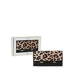 J by Jasper Conran - Black and tan leopard print bar detail purse in a gift box