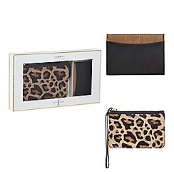 J by Jasper Conran - Natural leather leopard print wristlet and cardholder set in a gift box