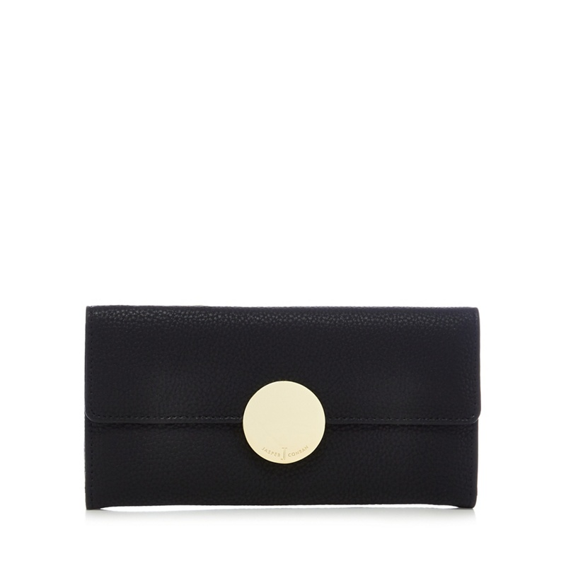 J by Jasper Conran Black circle fitting large flap-over purse - One Size - Purses (8525740 5045475188667) photo