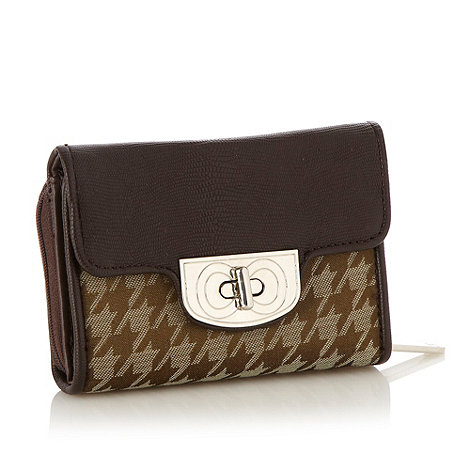 The Collection - Chocolate dogtooth flapover purse