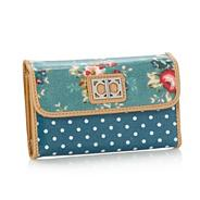 Turquoise floral coated canvas flapover purse