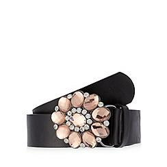 The Collection - Black gem flower buckle belt