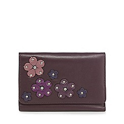 The Collection - Dark purple leather floral appliqué medium flap over purse