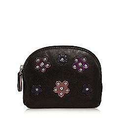 The Collection - Black leather floral stud coin purse