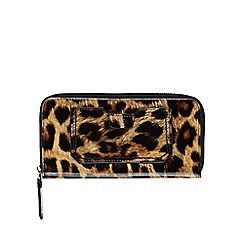 The Collection - Multi-coloured leopard print patent zip around large purse