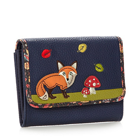 Mantaray - Navy applique fox flapover purse