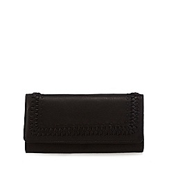The Collection - Black leather whipstitch large fold over purse