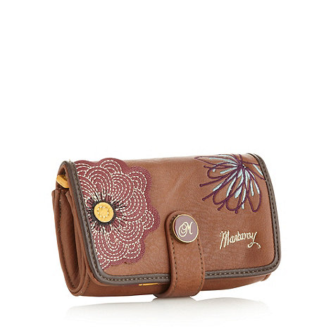 Mantaray - Brown floral embroidery and applique purse