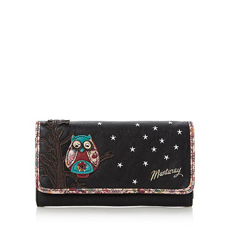 Mantaray - Black owl embroidered purse