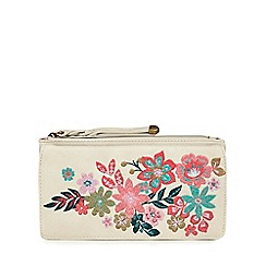 Mantaray - Light grey floral embroidered large purse