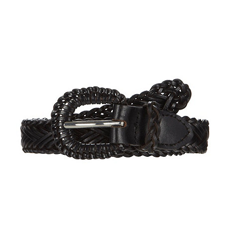 Mantaray - Black woven leather jeans belt