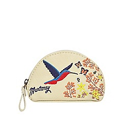 Mantaray - Cream hummingbird embroidered coin purse