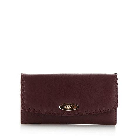 RJR.John Rocha - Designer wine leather whip stitched flapover purse