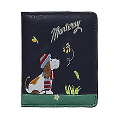 Mantaray - Navy dog embroidered card holder