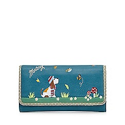 Mantaray - Dark turquoise dog embroidered purse