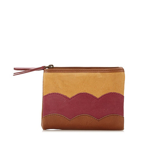 Mantaray - Tan leather scalloped zip purse