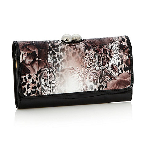 Star by Julien Macdonald - Designer black animal printed flap purse