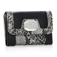 Designer black snake panel purse