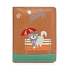 Mantaray - Tan cat in rain embroidered card holder