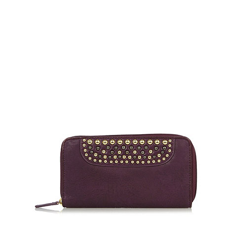 Star by Julien Macdonald - Designer purple studded zip around purse