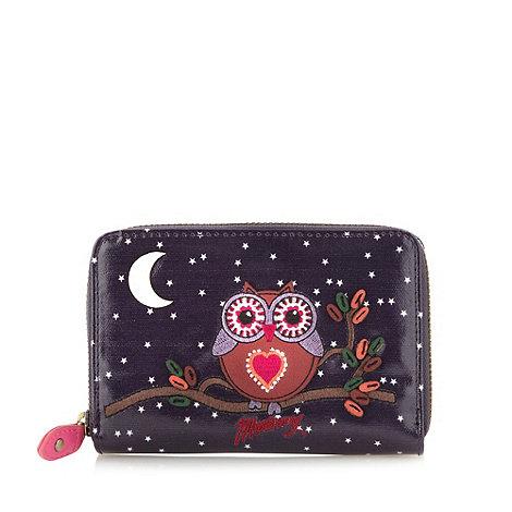 Mantaray Purple owl embroidered purse