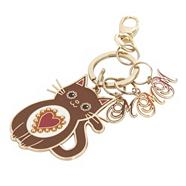 Brown enamel cat keyring