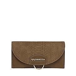 RJR.John Rocha - Khaki snakeskin-effect flap over purse