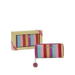 Floozie by Frost French - Multi-coloured stripe large zip around purse in a gift box