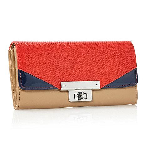 Principles by Ben de Lisi - Designer tan colour block lizard flapover purse