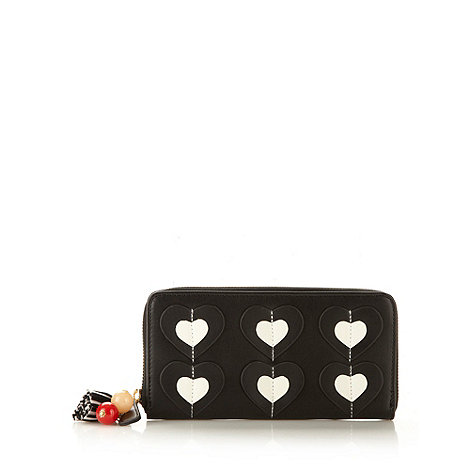 Floozie by Frost French - Black large applique hearts purse