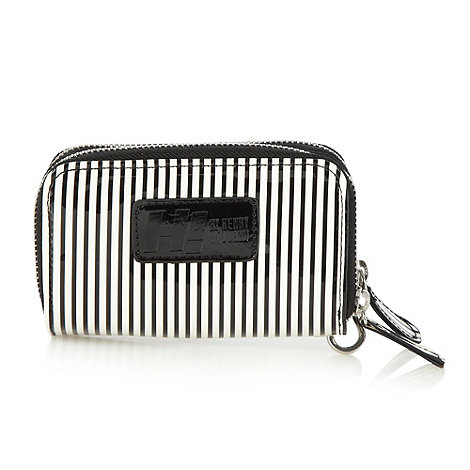 H! by Henry Holland - Designer white striped double zip around purse