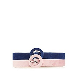 Red Herring - Pack of two navy and pink velvet skinny belts