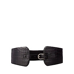 The Collection - Black croc-effect elasticated waist belt