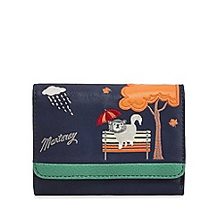 Mantaray - Navy cat in rain embroidered purse