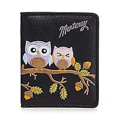 Mantaray - Black owl embroidered card holder