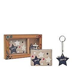 Mantaray - Grey star applique coin purse and keyring set in a gift box
